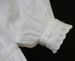 antique christening dress cuff lace & embroidery detail www.buckinghamvintage.co.uk
